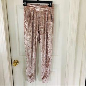 Pink velvet jogger pants